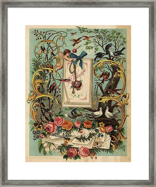 Cherubs, Doves, And Foliage In Outdoor Framed Print by Gillham Studios