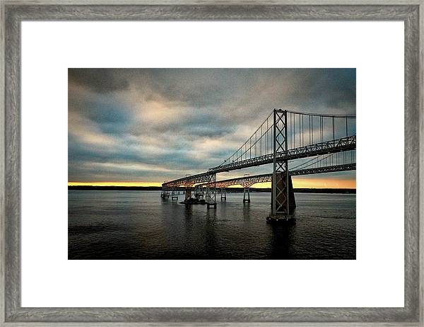Chesapeake Bay Bridge At Twilight Framed Print