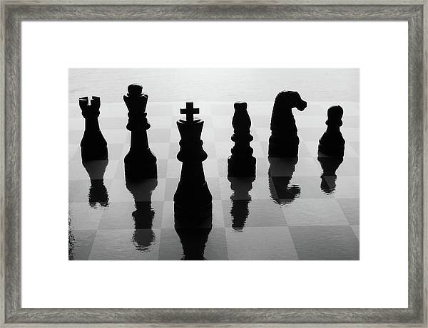 Chess Board And Pieces Framed Print