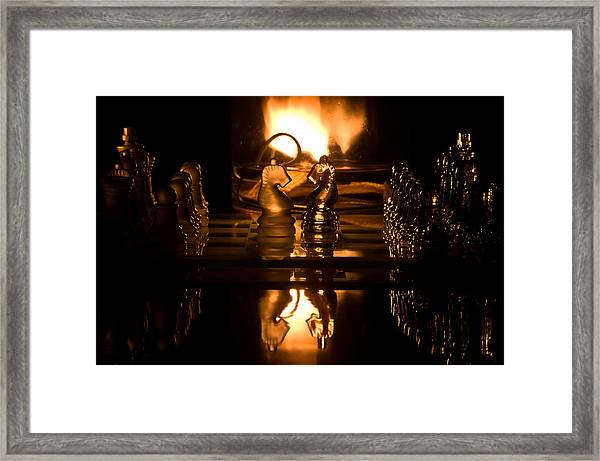 Chess Knights And Flame Framed Print