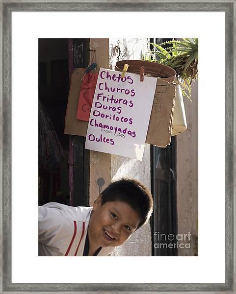 Chetos Boy Framed Print