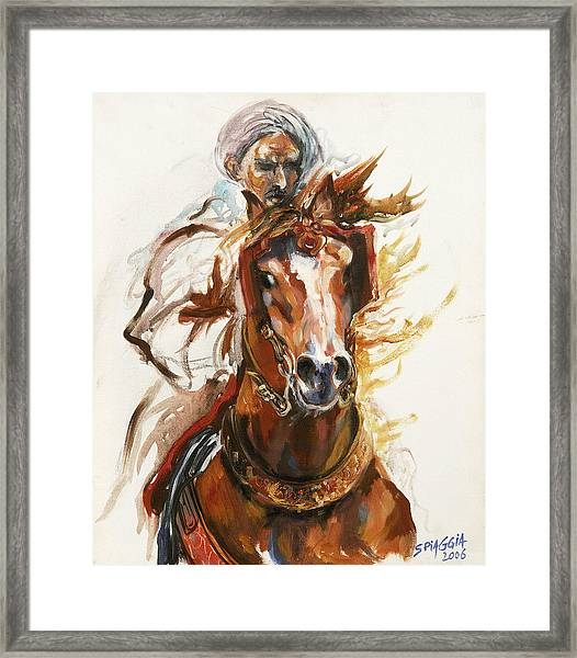 Cheval Arabe Monte En Action Framed Print by Josette SPIAGGIA