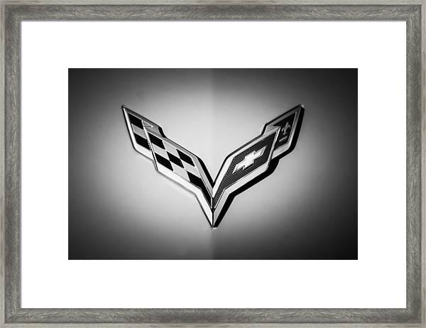 Chevrolet Corvette Emblem -0406bw Framed Print
