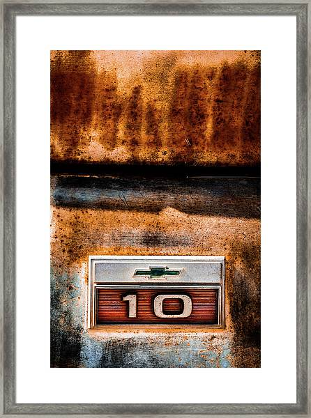 Chevy C10 Rusted Emblem Framed Print