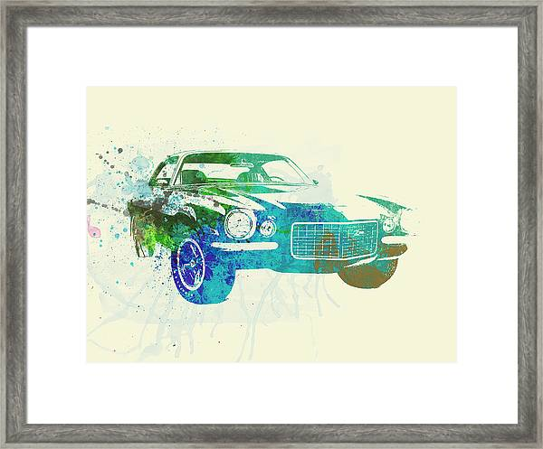 Chevy Camaro Watercolor Framed Print