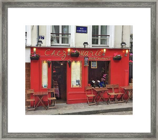 Chez Marie Restaurant, Montmartre, Paris Framed Print