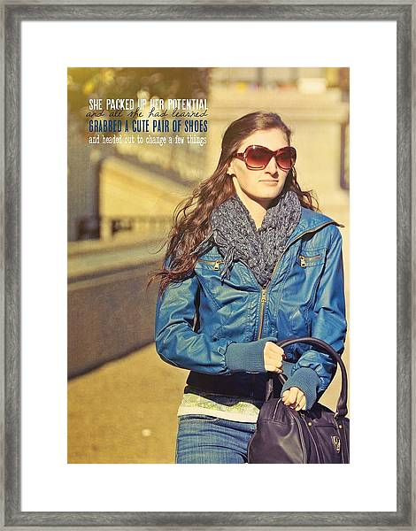 Chic Potential Quote Framed Print by JAMART Photography