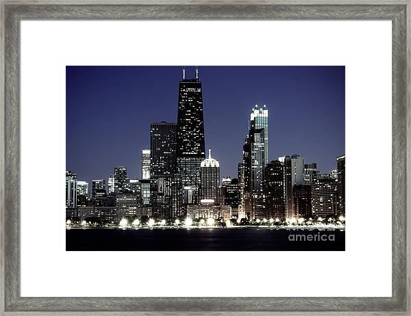 Chicago At Night High Resolution Framed Print