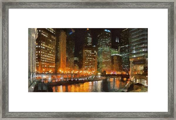 Chicago At Night Framed Print