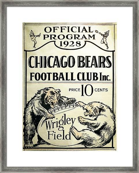 Chicago Bears Football Club Program Cover 1928 Framed Print