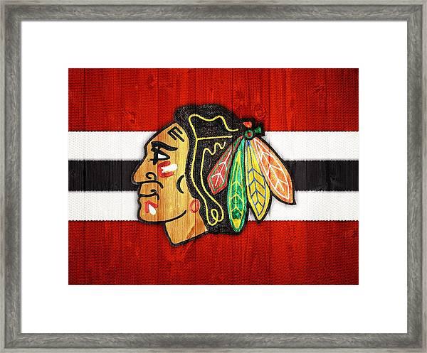 Chicago Blackhawks Barn Door Framed Print