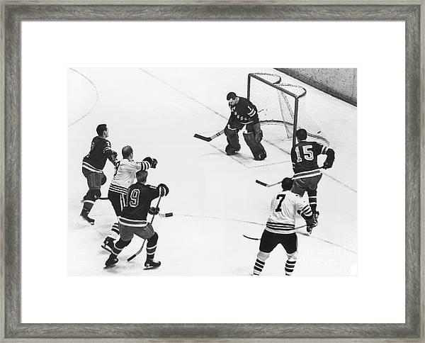 Chicago Blackhawks Bobby Hull Scores On Rangers Ed Giacomin. 1966 Framed Print by William Jacobellis