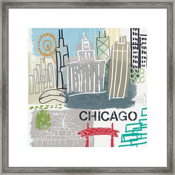Chicago Cityscape- Art By Linda Woods Framed Print