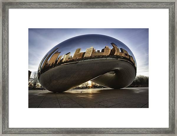 Chicago Cloud Gate At Sunrise Framed Print