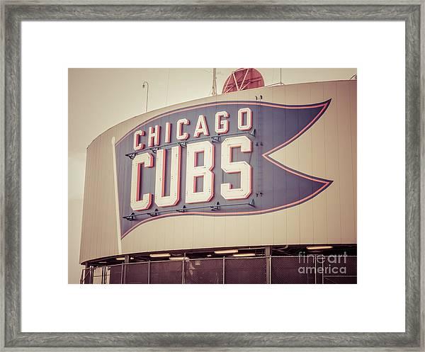Chicago Cubs Sign Vintage Picture Framed Print