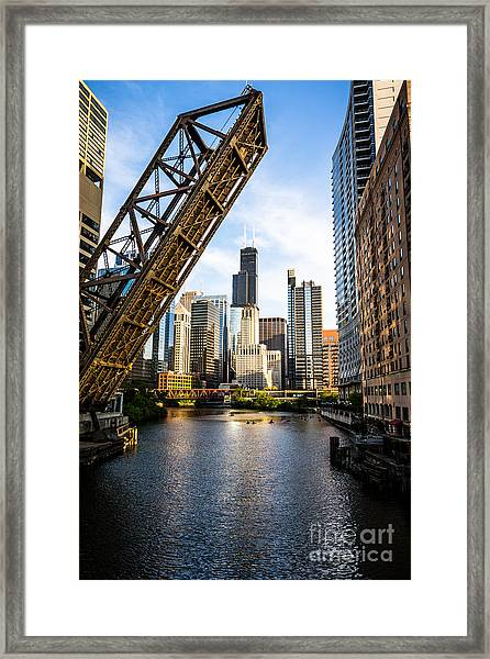 Chicago Downtown And Kinzie Street Railroad Bridge Framed Print