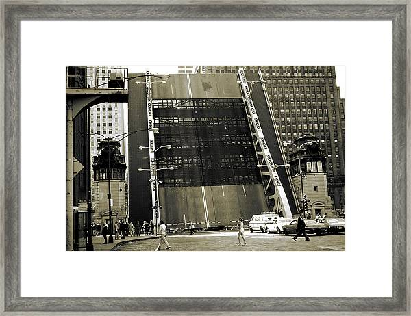 Old Chicago Draw Bridge - Vintage Photo Art Print Framed Print