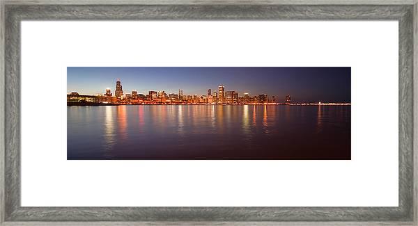 Chicago Dusk Skyline Panoramic  Framed Print
