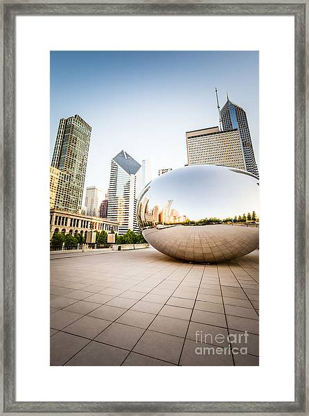 Chicago Gloud Gate And Chicago Skyline Photo Framed Print by Paul Velgos