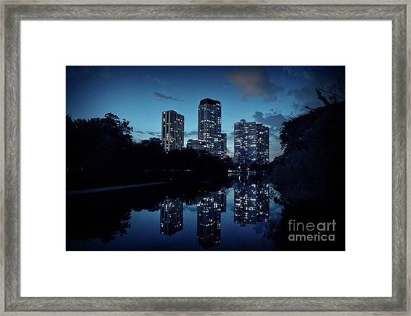 Chicago High-rise Buildings By The Lincoln Park Pond At Night Framed Print