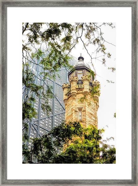 Chicago Historic Water Tower Fog Framed Print