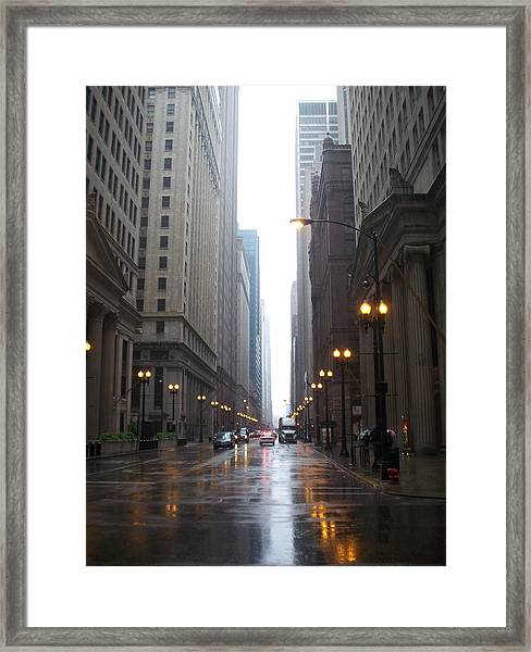 Chicago In The Rain 2 Framed Print