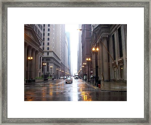 Chicago In The Rain Framed Print