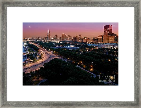 Chicago Independence Day At Night Framed Print
