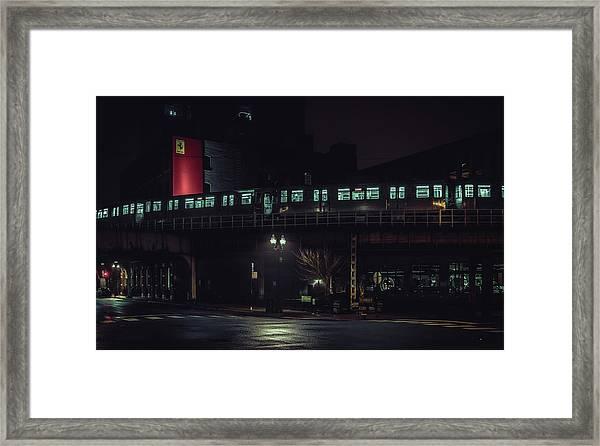 Chicago L At Night Framed Print