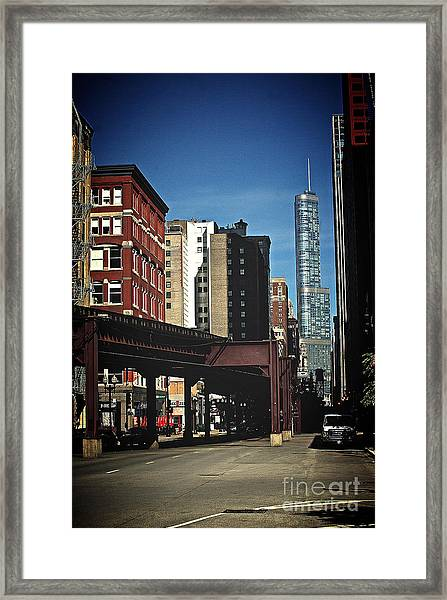 Chicago L Between The Walls Framed Print