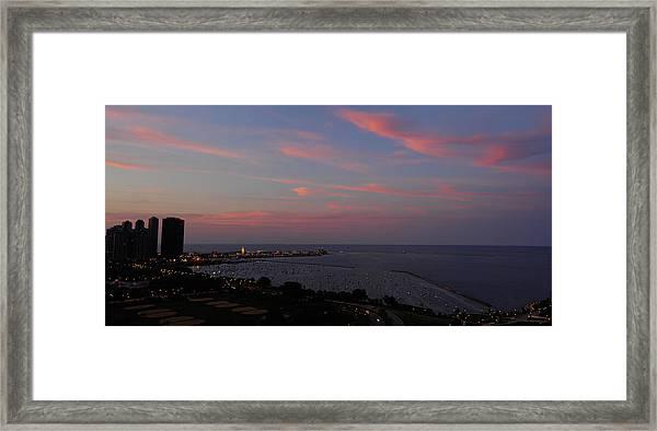 Chicago Lakefront At Sunset Framed Print