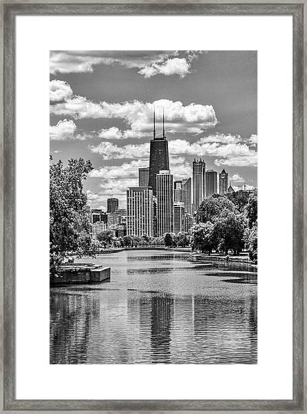 Chicago Lincoln Park Lagoon Black And White Framed Print