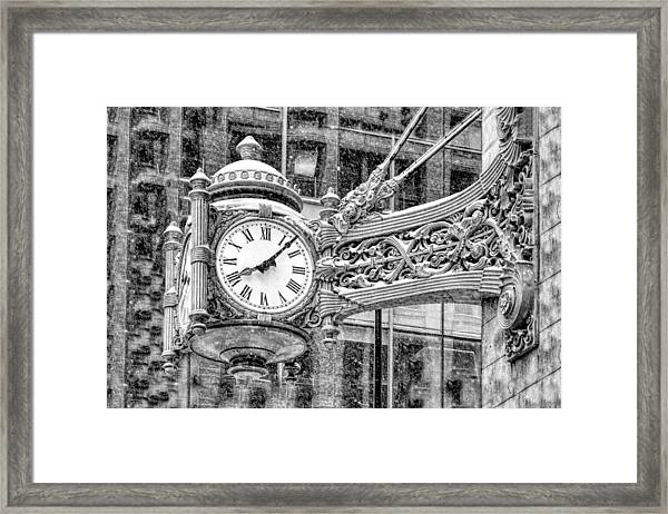 Chicago Marshall Field State Street Clock Black And White Framed Print