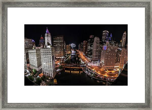 Chicago Night Live - Pano Framed Print