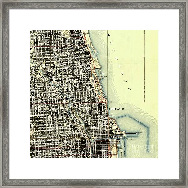 Chicago Old Map, Gift For Men Framed Print