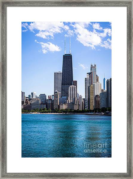 Chicago Photo Of Skyline And Hancock Building Framed Print