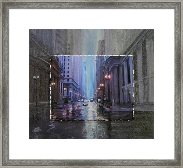 Chicago Rainy Street Expanded Framed Print