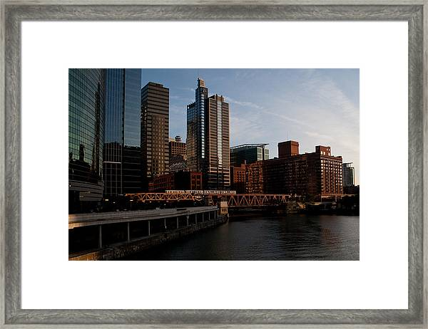Chicago River And Downtown Framed Print