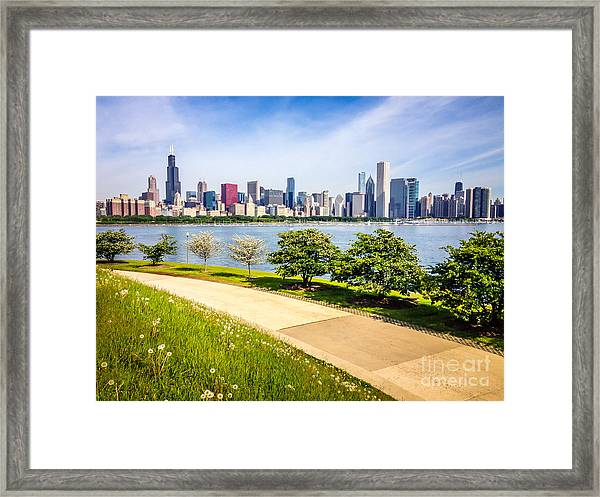 Chicago Skyine And Lakefront Trail Framed Print by Paul Velgos