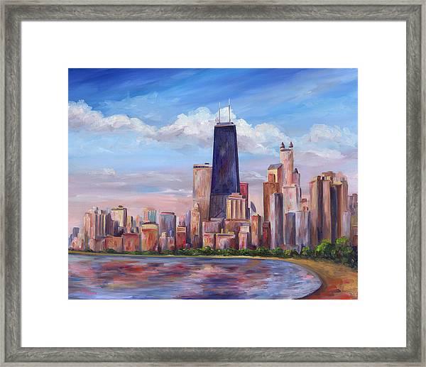 Chicago Skyline - John Hancock Tower Framed Print
