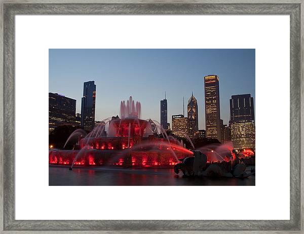 Chicago Skyline And Buckingham Fountain Framed Print
