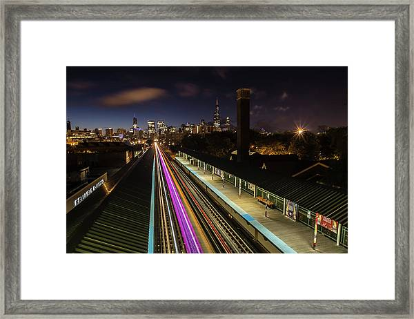 Chicago Skyline And Train Lights Framed Print