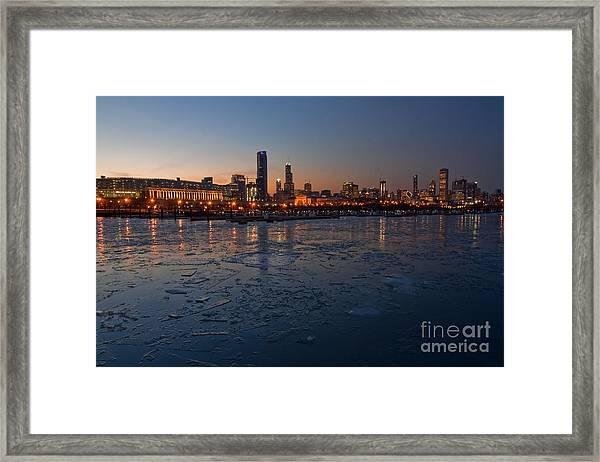 Chicago Skyline At Dusk Framed Print