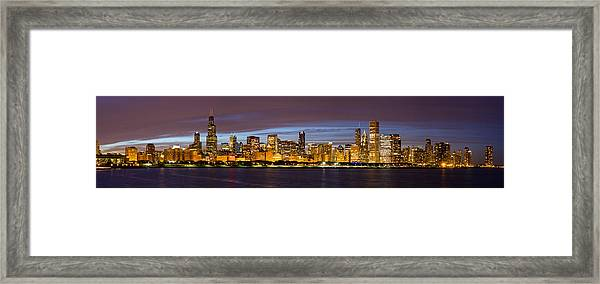 Chicago Skyline At Dusk Framed Print by Twenty Two North Photography