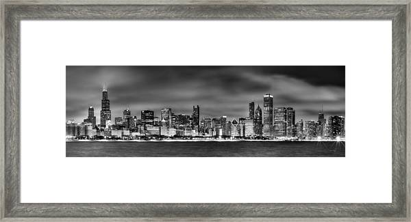 Chicago Skyline At Night Black And White Framed Print