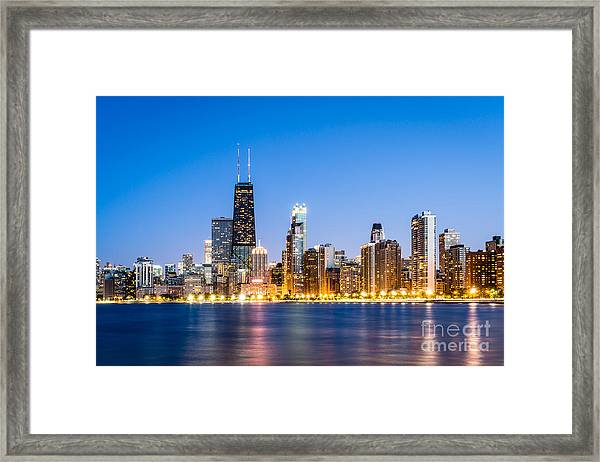 Chicago Skyline At Twilight Framed Print