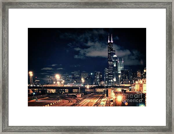 Chicago Skyline Cityscape At Night Framed Print