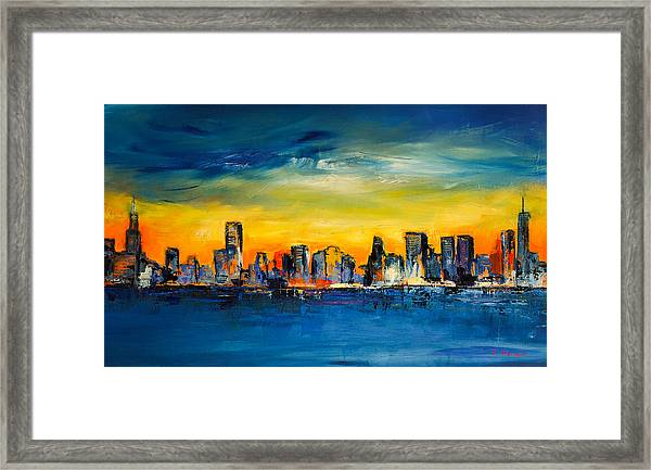 Framed Print featuring the painting Chicago Skyline by Elise Palmigiani