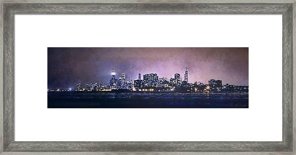 Chicago Skyline From Evanston Framed Print