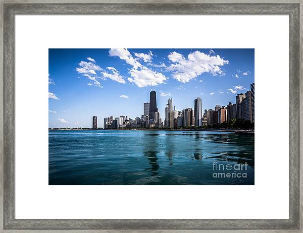 Chicago Skyline Photo With Hancock Building Framed Print by Paul Velgos